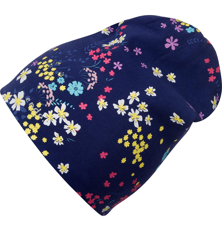 Endo - Czapka wiosenna dla dziecka, w kolorowe kwiatki, granatowa D05R012_1