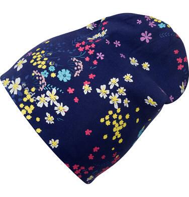 Czapka wiosenna dla dziecka, w kolorowe kwiatki, granatowa D05R012_1