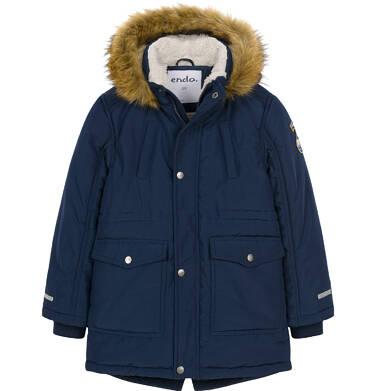 Endo - Zimowa kurtka parka dla chłopca 9-13 lat, Polarny świat, granatowa C92A501_1