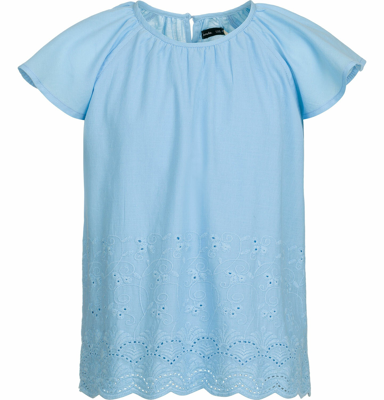 Endo - Bluzka koszulowa z krótkim rękawem dla dziewczynki, luźny krój, niebieska, 2-8 lat D03F013_1