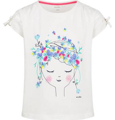 Endo - Bluzka z krótkim rękawem dla dziewczynki, z kobietą w kwiatach, porcelanowa, 9-13 lat D03G621_1 98