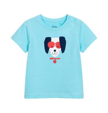Endo - T-shirt z krótkim rękawem dla dziecka do 2 lat, z pieskiem w okularach, niebieski N05G054_1 32
