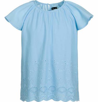 Endo - Bluzka koszulowa z krótkim rękawem dla dziewczynki, luźny krój, niebieska, 9-13 lat D03F513_1 50