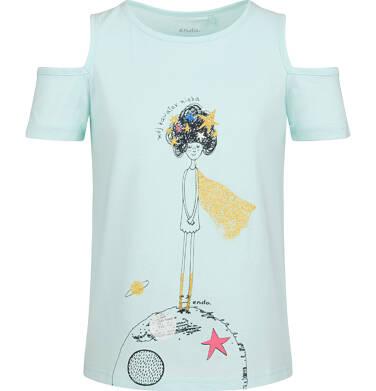 Endo - Bluzka z krótkim rękawem dla dziewczynki, z odrytymi ramionami, niebieska, 2-8 lat D03G128_1 292