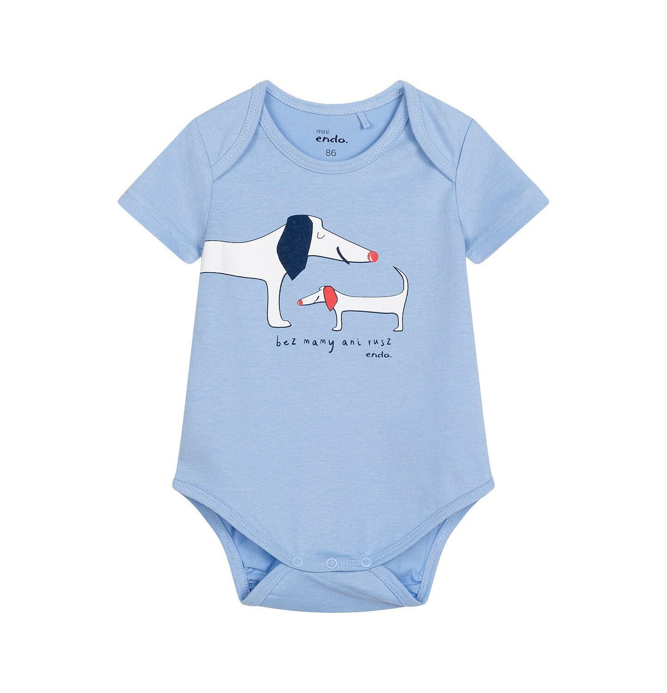 Endo - Body z krótkim rękawem dla dziecka do 2 lat, z pieskami, niebieskie N05M010_1