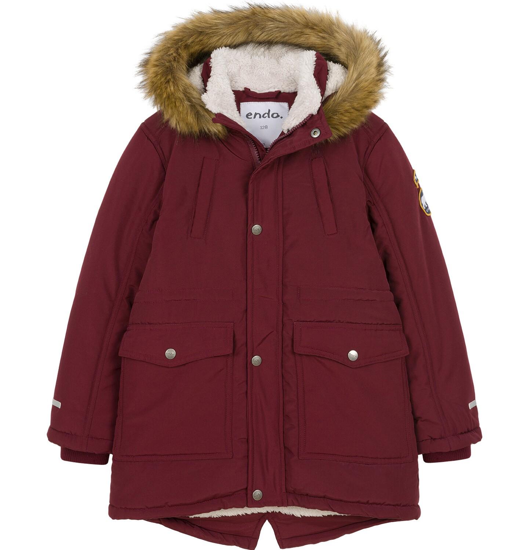 Endo - Zimowa kurtka parka dla chłopca 9-13 lat, Niedźwiedzie tropy, ciemnowiśniowa, ciepła C92A501_2