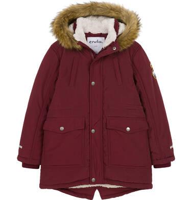 Endo - Zimowa kurtka parka dla chłopca 9-13 lat, Niedźwiedzie tropy, ciemnowiśniowa, ciepła C92A501_2,1