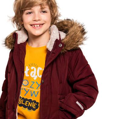 Endo - Zimowa kurtka parka dla chłopca 9-13 lat, Niedźwiedzie tropy, ciemnowiśniowa, ciepła C92A501_2 5