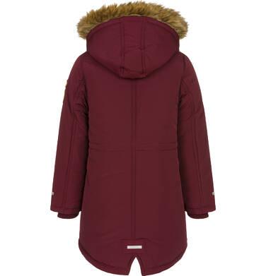 Endo - Zimowa kurtka parka dla chłopca 9-13 lat, Niedźwiedzie tropy, ciemnowiśniowa, ciepła C92A501_2,5