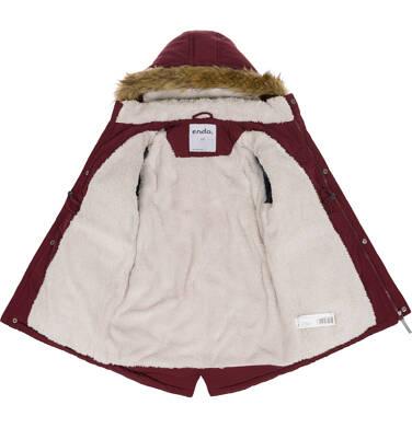 Endo - Zimowa kurtka parka dla chłopca 9-13 lat, Niedźwiedzie tropy, ciemnowiśniowa, ciepła C92A501_2,3