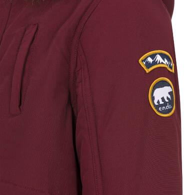 Endo - Zimowa kurtka parka dla chłopca 9-13 lat, Niedźwiedzie tropy, ciemnowiśniowa, ciepła C92A501_2,6