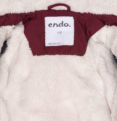 Endo - Zimowa kurtka parka dla chłopca 9-13 lat, Niedźwiedzie tropy, ciemnowiśniowa, ciepła C92A501_2,8