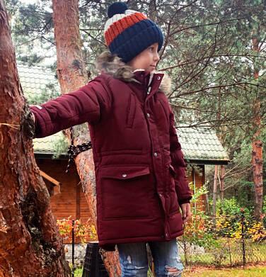 Endo - Zimowa kurtka parka dla chłopca 9-13 lat, Niedźwiedzie tropy, ciemnowiśniowa, ciepła C92A501_2 1