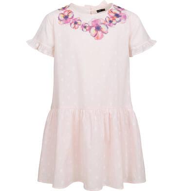 Koszulowa sukienka z krótkim rękawem i falbanką, w kropki, różowa, 2-8 lat D03H024_1