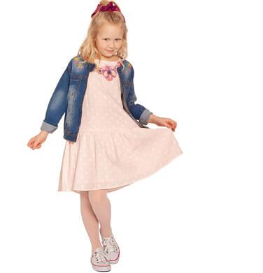 Endo - Koszulowa sukienka z krótkim rękawem i falbanką, w kropki, różowa, 2-8 lat D03H024_1