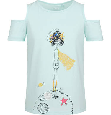 Endo - Bluzka z krótkim rękawem dla dziewczynki, z odrytymi ramionami, niebieska, 9-13 lat D03G628_1 222