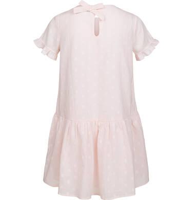 Endo - Koszulowa sukienka z krótkim rękawem i falbanką, w kropki, różowa, 9-13 lat D03H524_1 11