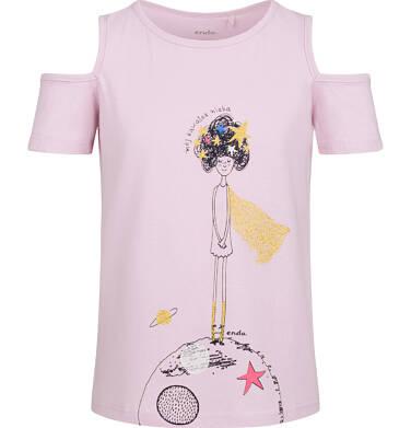 Endo - Bluzka z krótkim rękawem dla dziewczynki, z odrytymi ramionami, różowa, 2-8 lat D03G128_2 287