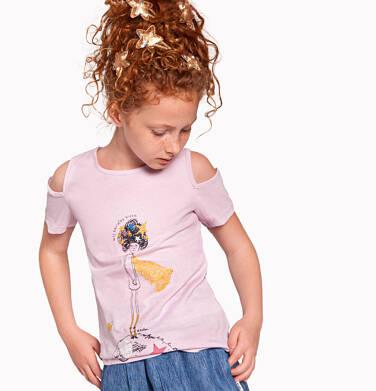 Endo - Bluzka z krótkim rękawem dla dziewczynki, z odrytymi ramionami, różowa, 2-8 lat D03G128_2 9