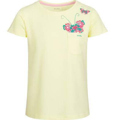 Endo - Bluzka z krótkim rękawem dla dziewczynki, z kieszonką i motylem, żółta, 2-8 lat D03G033_1
