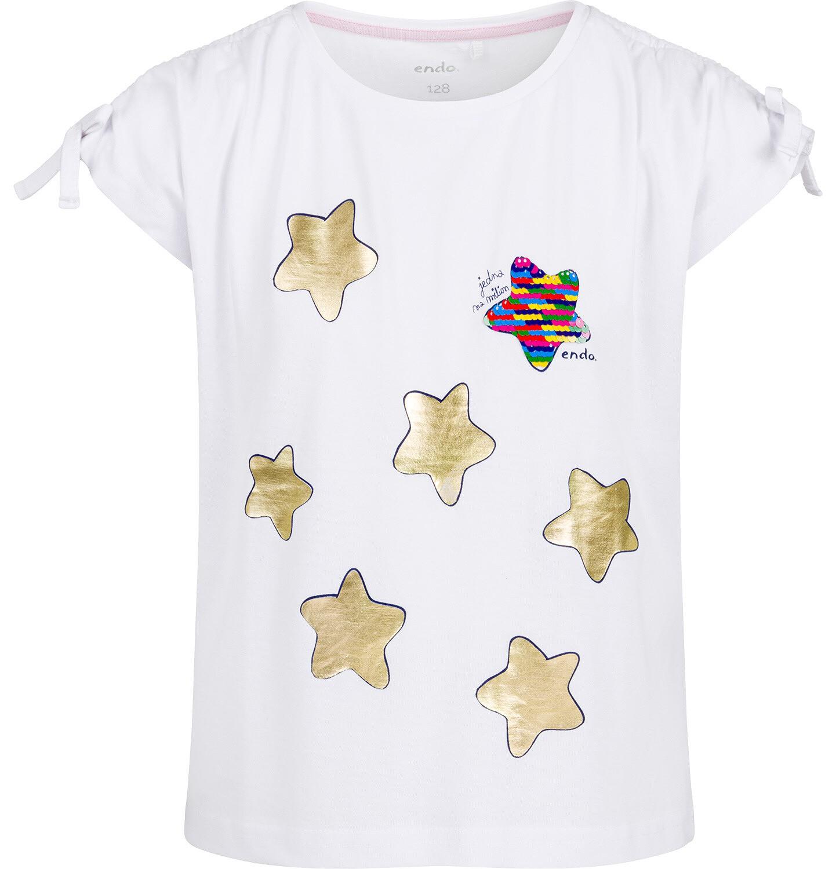 Endo - Bluzka z krótkim rękawem dla dziewczynki, w gwiazdy, biała, 9-13 lat D03G630_2