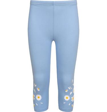 Legginsy 3/4 dla dziewczynki, błękitne ze stokrotkami, 2-8 lat D05K056_2