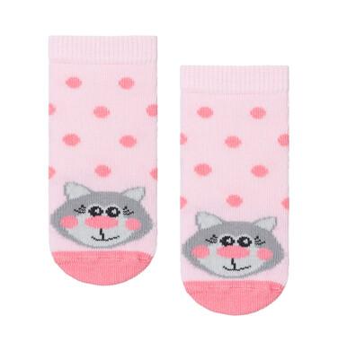 Endo - Różowe skarpetki dziecięce w kropki z kotkiem D08P044_1 1