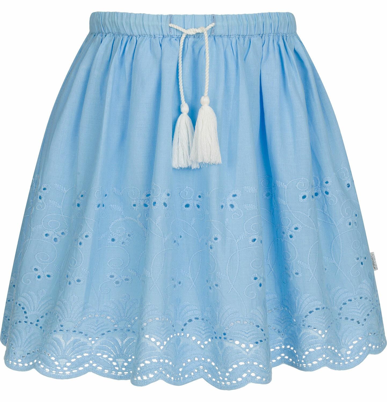 Krótka spódnica z delikatnym haftem, niebieska, 2 8 lat