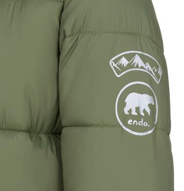 Endo - Zimowa kurtka dla chłopca 3-8 lat, długa, zielona, na flanelowej podszewce C92A005_2