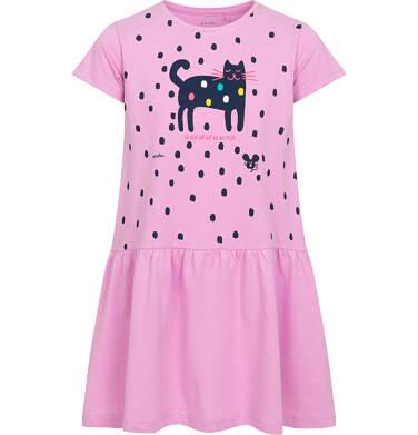 Sukienka z krótkim rękawem, z kotem, różowa w kropki, 2-8 lat D05H053_2