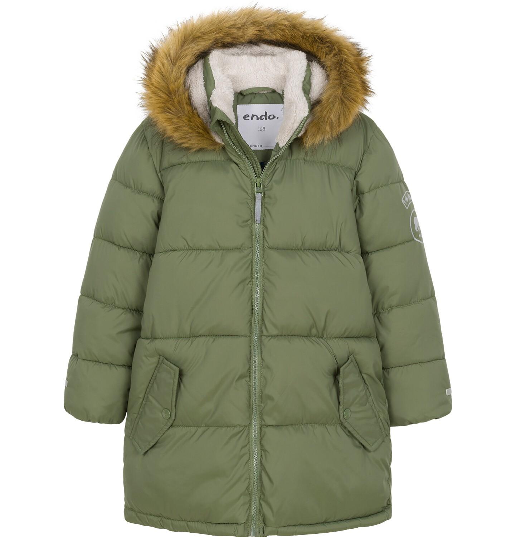 Endo - Zimowa kurtka dla chłopca 9-13 lat, długa, zielona, na flanelowej podszewce, ciepła C92A505_2