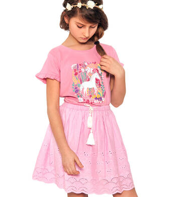 Endo - Krótka spódnica z delikatnym haftem, różowa, 2-8 lat D03J012_2 5