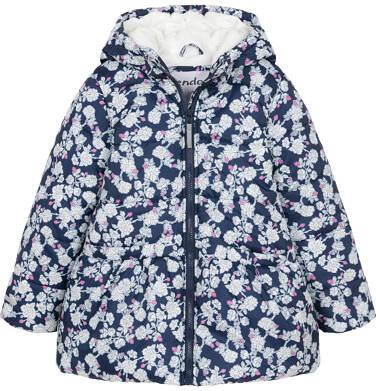 Endo - Zimowa kurtka dla dziewczynki 3-8 lat, deseń w kwiaty, polarowa podszewka i wnętrze kaptura, ciepła D92A012_1 17