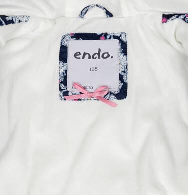 Endo - Zimowa kurtka dla dziewczynki 3-8 lat, deseń w kwiaty, polarowa podszewka i wnętrze kaptura, ciepła D92A012_1,7