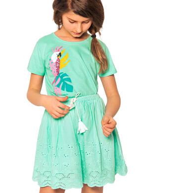 Endo - Krótka spódnica z delikatnym haftem, miętowa, 2-8 lat D03J012_3