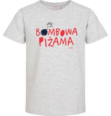 Endo - Piżama z krótkim rękawem dla chłopca, z napisem, szara z granatowymi spodenkami, 2-8 lat C06V001_1 11