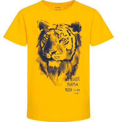 Endo - Piżama z krótkim rękawem dla chłopca, z tygrysem, żółta z granatowymi spodenkami, 2-8 lat C06V002_1 10