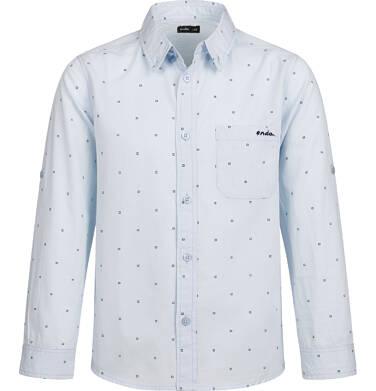 Koszula z długim rękawem dla chłopca, z kołnierzykiem, w drobny wzór, niebieska, 2-8 lat C03F002_1