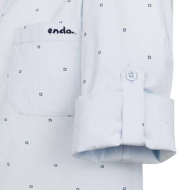 Endo - Koszula z długim rękawem dla chłopca, z kołnierzykiem, w drobny wzór, niebieska, 9-13 lat C03F502_1,2