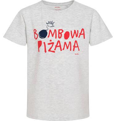 Endo - Piżama z krótkim rękawem dla chłopca, z napisem, szara z granatowymi spodenkami, 9-13 lat C06V004_1 222