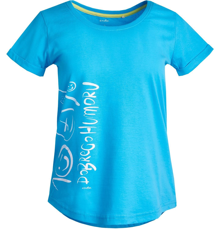 Endo - Lekko taliowana bluzka damska z krótkim rękawem Y81G002_1