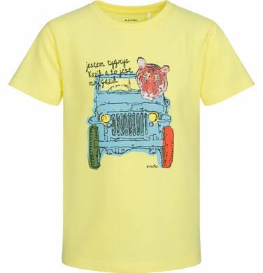 Endo - T-shirt z krótkim rękawem dla chłopca, tygrys w aucie, żółty, 2-8 lat C03G046_1