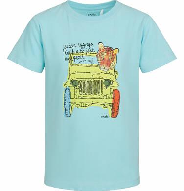 Endo - T-shirt z krótkim rękawem dla chłopca, tygrys w aucie, turkusowy, 2-8 lat C03G046_2