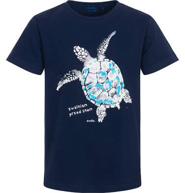 Endo - Piżama z krótkim rękawem dla chłopca, z żółwiem morskim, granatowa, 9-13 lat C06V006_1 224