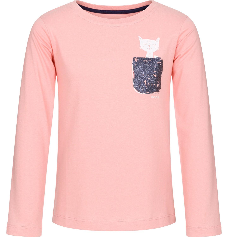 Endo - Bluzka z długim rękawem dla dziewczynki, z kieszonką, różowa, 9-13 lat D92G553_2