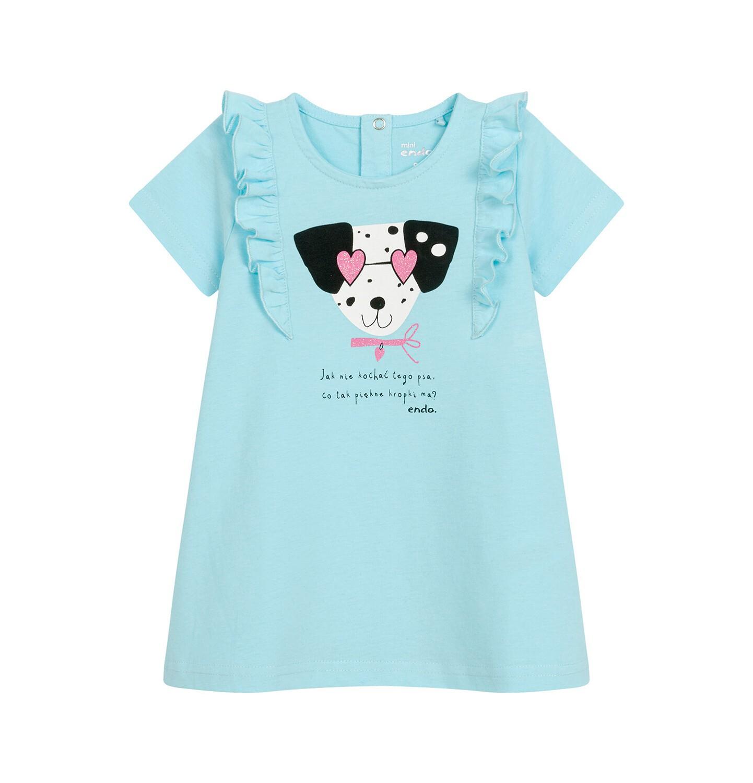 Endo - Sukienka z krótkim rękawem dla dziewczynki, z pieskiem, niebieska N03H023_1