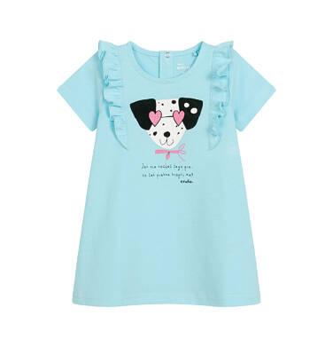 Endo - Sukienka z krótkim rękawem dla dziewczynki, z pieskiem, niebieska N03H023_1 3