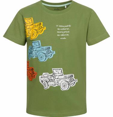 Endo - T-shirt z krótkim rękawem dla chłopca, z terenowymi autami oliwkowy, 9-13 lat C03G551_1