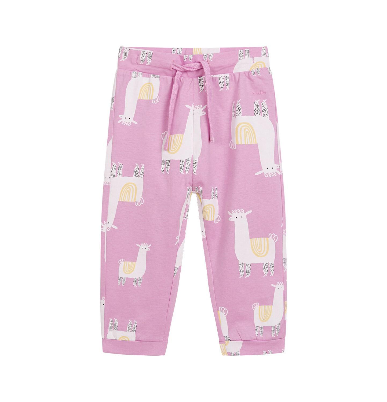 Endo - Spodnie dla dziecka do 2 lat, deseń w alpaki, różowe N03K037_1