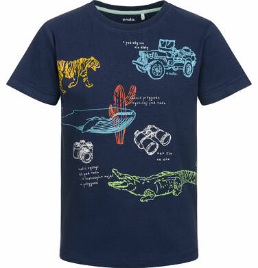 Endo - T-shirt z krótkim rękawem dla chłopca, w podróży, ciemnogranatowy, 2-8 lat C03G052_1